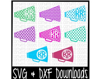 Cheer SVG * Cheer Monogram SVG * Megaphone Cut File - dxf & SVG Files - Silhouette Cameo/Cricut