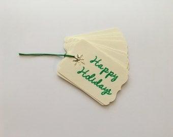 Happy Holidays Gift Tag, Christmas Tag, Snowflake, Die Cut