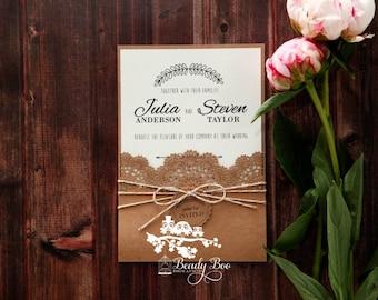 Wedding Invitation | Custom invitations | Unique invitations | Wedding stationery | Elegant invites | Rustic Invitation -Country Lace Pocket
