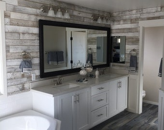reclaimed wood wall paneling white washed