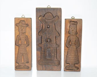 Traditional Dutch Vintage Wooden Speculaas Cookie Mold Set Three Windmill Man Woman Baker Farmer Wall Decoration Photoshoot Prop