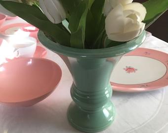 Vintage Robinson Ransbottom Art Vase Seafoam Green Roseville Ohio Collectable Ransbottom Pottery Art Deco Style Pottery Vase