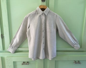 Vintage Ecru Linen Blouse 100% Linen Long Sleeve Classic Blouse Size Petite Vintage Linen Blouse Vintage Womans Clothing