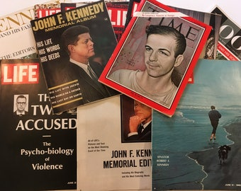 Vintage JFK Magazines Memorial Magazines Set of Twelve Magazines Various Titles Look Life Time JFK Epherma Collectable Magazines