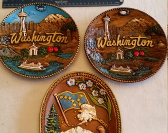 """3 vintage state collector plates 8"""" size - 2 washinton & 1 alaska - smith western 3d round oval clay ceramic pottey wall hanging art deco"""
