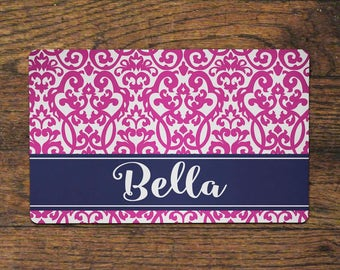 Pet Food Mat - Hot Pink Damask - Place Mat Dog Cat Animal Customized Personalized  Neoprene Foodmat Placemat Top Selling Best Seller