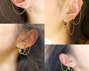 collection of clips for ears not pierced, multiple ways to wear, chains of gold 14 k