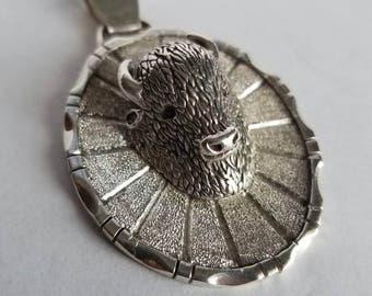 Sterling Silver Buffalo Pendant