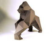 Gorilla Model , kingkong Model , kingkong paper , Gorilla paper ,Gorilla low poly , papercraft, DIY, 3D, trophy, papermodel, Sculpture
