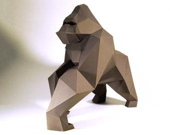 Gorilla Model , kingkong Model , kingkong paper , Gorilla paper ,Gorilla low poly , papercraft, DIY, 3D, trophy, papermodel, Sculpture