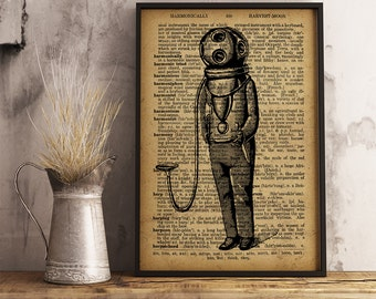 Diving suit print, Vintage illustration Dictionary Print Old Diving suit, Diving dress Print, Steampunk decor, Vintage Diving suit  (K16)