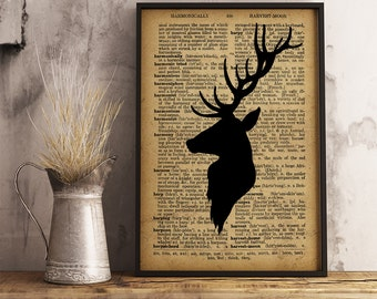 Deer Wall Art print Deer Dictionary Poster vintage style, Deer head Printable Art Hunter Gift Office Decor Buck Poster Antlers Print A23