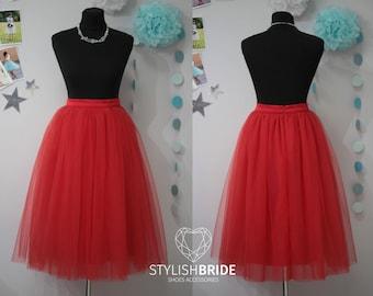 29 Red Tulle Skirt Casual 70 cm Lux/ Women's, Tulle Skirt Bridal, Princess Women Tulle Skirt, Princess Skirt, Wedding Red Tulle Skirt