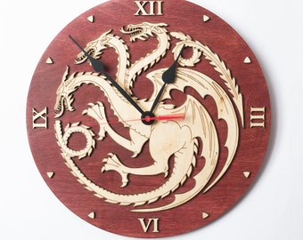 Game of thrones, House Targaryen clock, Emblem of Targaryen, GoT, Dragon decor, Targaryen Art, Game of Thrones Gift, men
