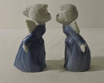 Miniature Vintage Porcelain Kissing Angels Japan Blue White