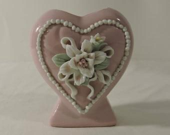 Pink Heart Shaped Bud Vase Small Vintage Japan Heavy Pastel