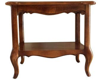 Ethan Allen French Country Two Tier end table /side table, accent table square shape