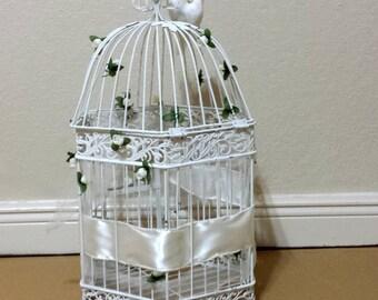 White Metal Bird Cage Wedding Decor