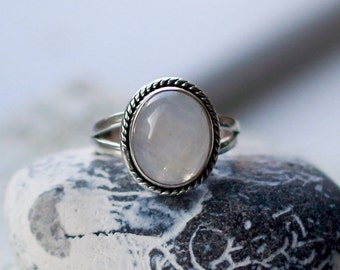 Rainbow moonstone ring, Sterling silver ring, Gemstone ring, Tribal ring, 925 ring