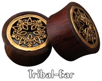 piercing plugs flower mandala sono wood plug brass Tribal-Ear Body Ethnic