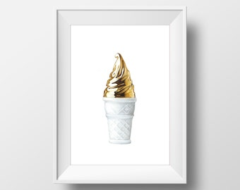 Colored Pencil Drawing, FINE ART PRINT, Golden Ice Cream, handmade