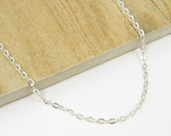 30 Inch Silver Necklace Chain, 30 Inch Silver Chain, Bright Silver Medium Link Unisex Chain for Pendant