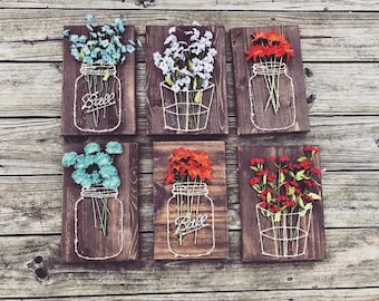 Mason Jars & Baskets w/ Flowers {Set of 6}