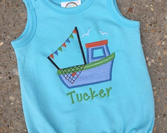 Aqua Bubble with Fishing Boat Applique