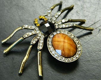 Retro Styled Cab and Rhinestone Brass Spider Pendant - Stylized Spider Pendant With Lots Of Bling