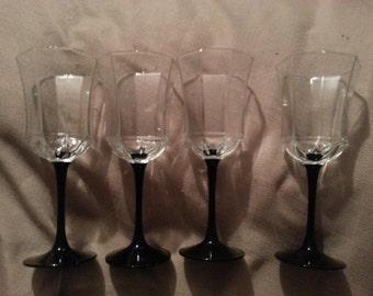Marked down! Glassware- black stem,  octavial glasses made in FRANCE-Lumernarec
