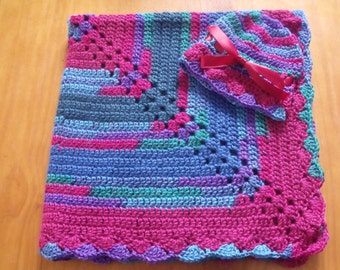 NEW Handmade Crochet Baby Blanket and Hat/Beanie Set - Jewel Colors Striped - A Wonderful Baby Shower Gift!! - SEE NOTE!