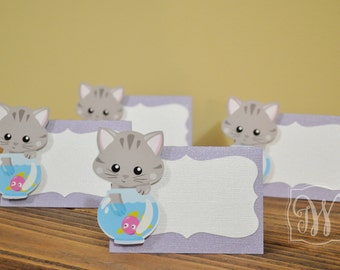 Kitty Cat Inspired Place Cards, Place Cards, kitty cat place cards, Kitty Cat tent food, Set of 12