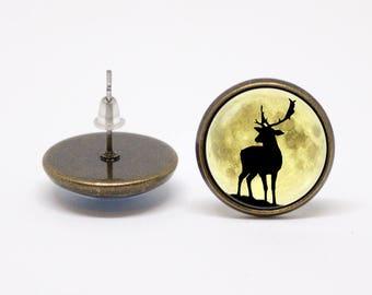 Deer earrings Moon jewelry Moon earrings Deer jewelry Girlfriend gift Moon jewellery Elk earrings Elk jewelry Animal earrings Moon and deer
