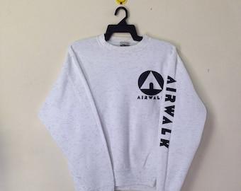 Rare!!! Vintage 80s AIRWALK Sweatshirt Crewneck Pullover Big Logo Streetwear