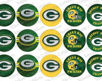 "Green Bay Packers Bottlecap Images, 1"" Circle Images, 4x6 Collage Sheet, Football Images, Digital Collage Sheet, Cupcake Toppers"