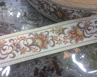 "1.6"" Wide Absolute Gorgeous Vintage Floral French Embroidered Jacquard Ribbon, Imported."