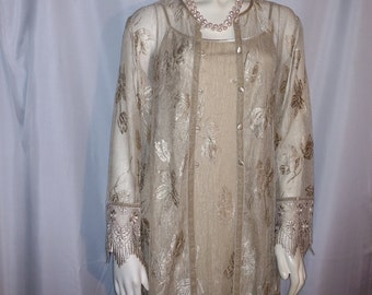 Mother of Bride Gown with Jacket/Size M Evening Gown /Lace Gown with Jacket/Beige Coctail Gown and  Jacket/Sue Wong Long Dress/Nr,266