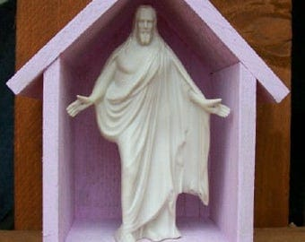 "Handmade Wooden Niche. ""Jesus's Home"". Light pink, rough. Late one night, came a knock at the door. ""Different"" knock than I'd heard before!"