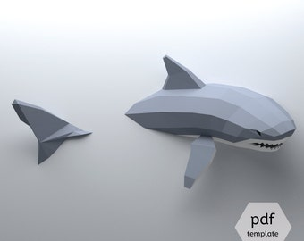 Low Poly Shark Model, Create Your Own 3D Papercraft Shark, Origami Shark, Great White Shark, Shark Lover, Shark Week, Wall hanging