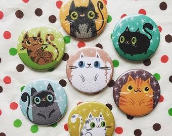 Itty Bitty Kitty Cute Cat Magnet/Button Set   Cat Lover Gift Idea