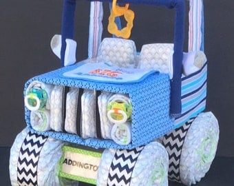 Jeep Diaper Cake, Diaper Cake, Unique Diaper Cake, Unique Baby Gift, Diaper