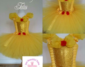 Belle inspired tutu dress - Yellow Beauty and the Beast Fun Party Outfit Fancy Cute Birthday
