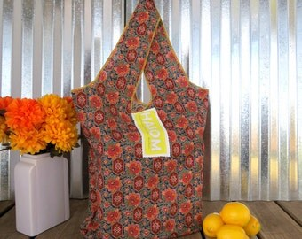 Upcycled / Reusable Shopping Bag / Reusable Grocery Bag / Reusable Bag / Tote Bag/ Shopping Bag / Farmers Market Bag/ Dark Floral