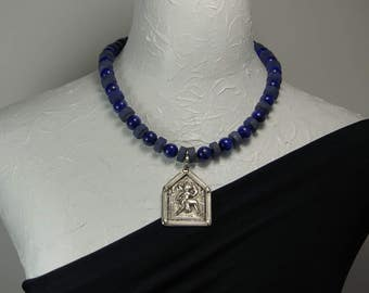 Tribal Amulet from India and Afghan Lapis Lazuli Statement Necklace E 031