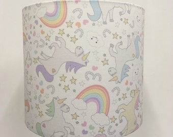 Unicorns and Rainbows White and Pastels Lampshade / Table Lamp Shade - Small