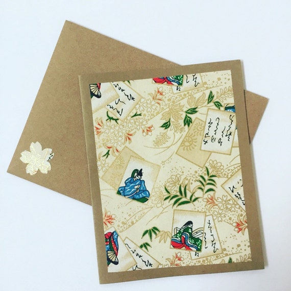 Kimono portrait note cards gold craft card stock paper for Craft paper card stock
