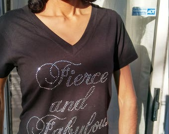 "Bling Cotton or Cotton Stretch Tee with the ""Fierce and Fabulous"" Logo"
