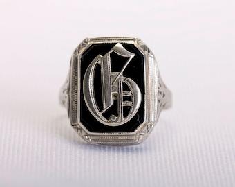 "edwardian 18k white gold & onyx ""G"" ring"