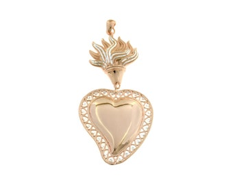 Sacred Heart pendant with diamond seeds flame 925 sterling silver plated hypoallergenic white gold pendant size 7cmx3,5cm