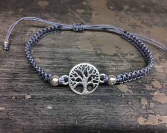 Macrame bracelet tree of life grey/silver